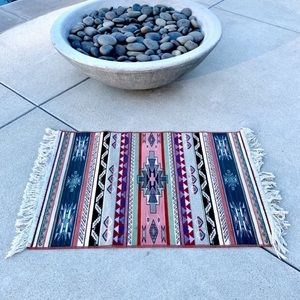 SMALL fringe floor MAT accent entry tribal print